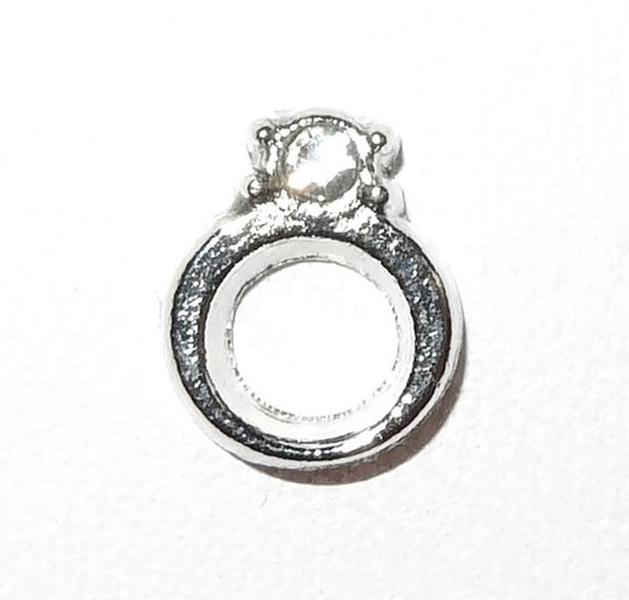 Wedding Ring with Clear Stone Floating Charm Silver