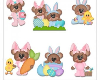 DIGITAL SCRAPBOOKING CLIPART - Bixby & Belinda Bunny Bears