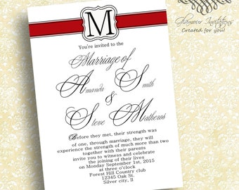 wedding invitations,  invitation invites invite  Red monogram  2-tone  RSVP and reception cards