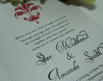 100 Wedding Invitations, invites  Modern Red Damask Beautiful Script available in any color
