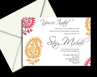 Wedding Invitations, PRINTABLE DIY Colorful Indian Hena scroll   includes rsvp and reservation