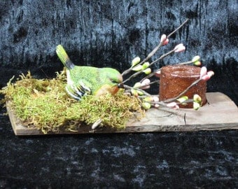 Spring Decoration with Bird Perched on Barnwood with Candle