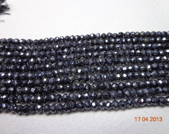 13.5 Inches - 3mm - Silver Mystic Coated Black Spinel Micro Faceted Roundel Beads Strand-Black Garnet Silver Mystic Coated Faceted Beads