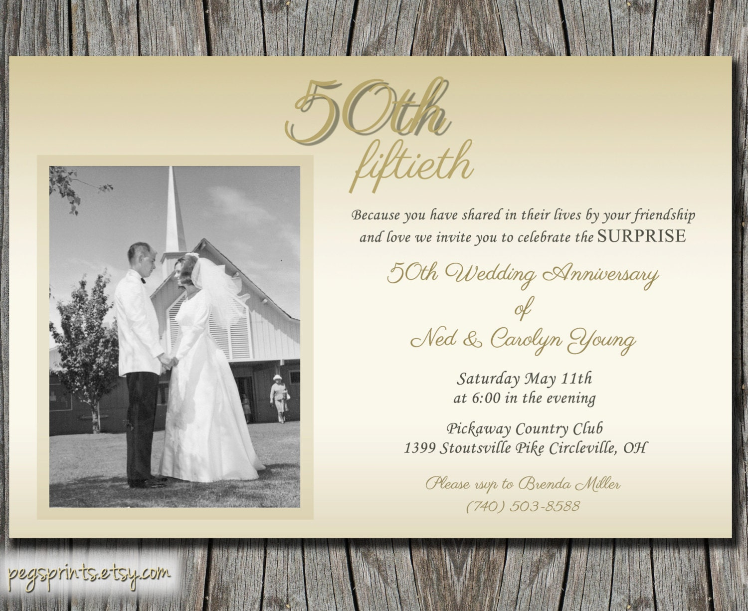 Fiftieth Wedding Anniversary Invitations: Surprise Wedding Anniversary Invitation 50th By PegsPrints