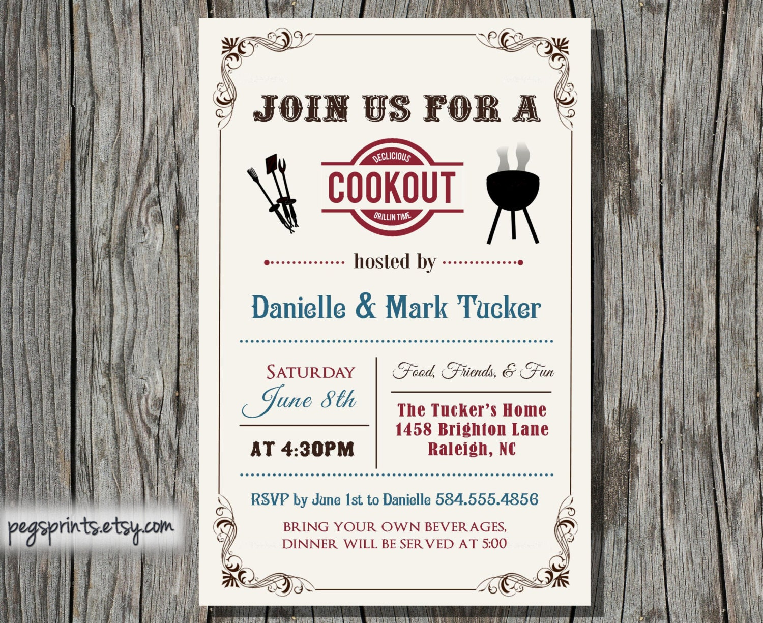 Cookout Invitation Summer Family BBQ Printable by PegsPrints: https://www.etsy.com/listing/150531494/cookout-invitation-summer...