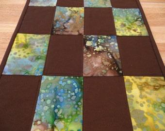 Brown Batik Table Runner Quilted Batik Fabric Turquoise Blue