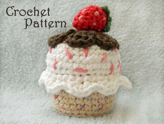 Crochet Pattern for Amigurumi Food: Crochet Cupcake with Strawberry, PDF Instant Download