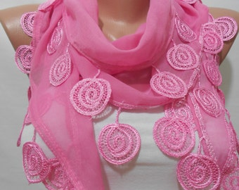 Pink Scarf Shawl Mothers Day Gift Cowl Scarf with Lace Edge Cotton Scarf Wedding Christmas Gift For Her Holiday Women Fashion Accessories