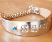 Half-choker leather dog collar metallic with personalized stamping name and stone spots Size S