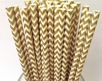 Paper Straws 50 Golden Chevron Paper Drinking Straws Vintage Paper Decorative Straws-Party Straws-Retro Wedding Straws-baybay shower straws