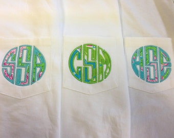 Monogrammed short sleeve tee using Lilly Pulitzer fabric