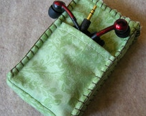 iPod Classic Case, Credit Card Holder, Clutch, Purse, Phone Case, Green Branches with Brown Edge Stitching