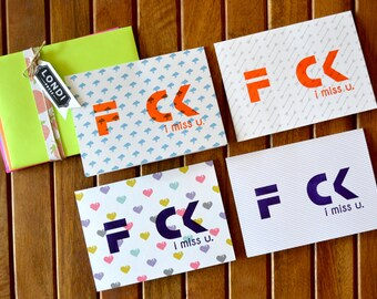 Thinking of you Card - FCK i miss u. - Letterpress