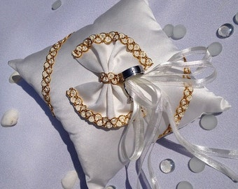 Wedding Ring Bearer Pillow bow style ivory satin,gold color lace.