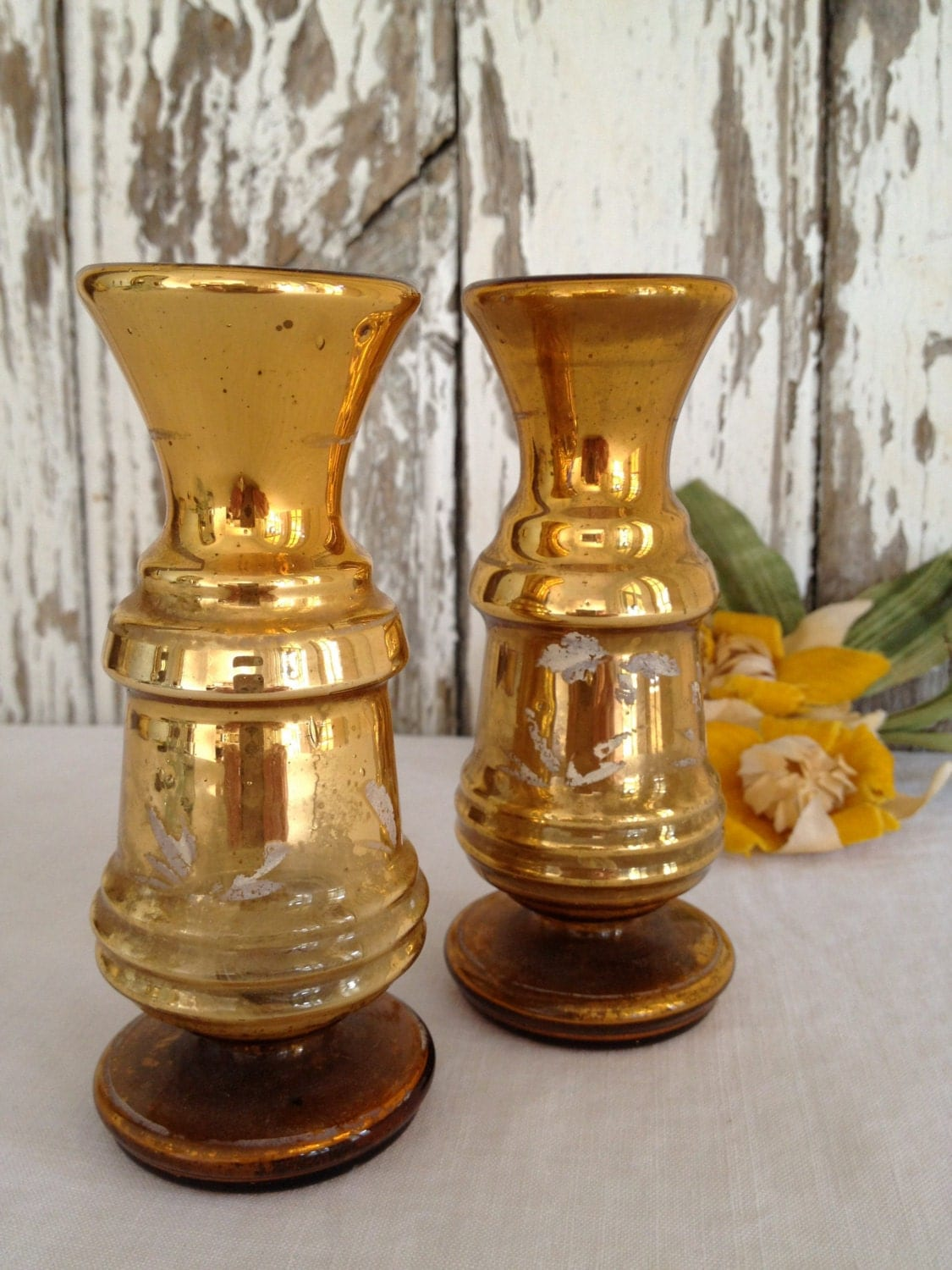 Gold Mercury Glass Centerpiece : Reserved antique victorian mercury glass vases gold with