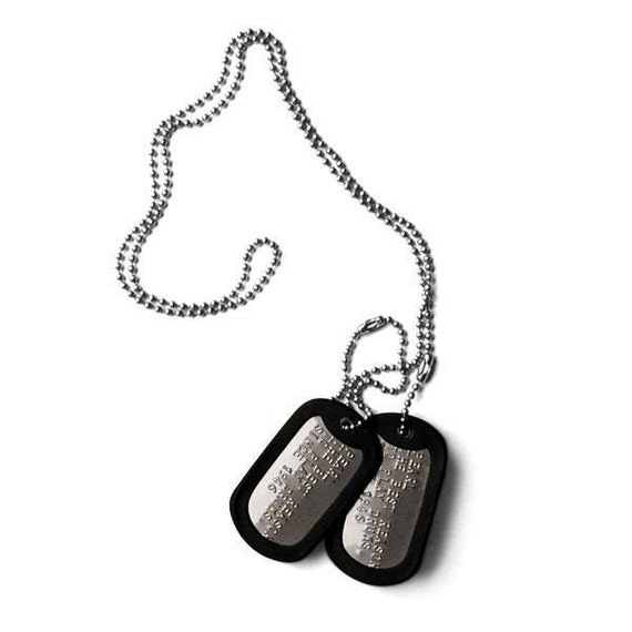 Military Army Dog Tags, ID Tags incl. Your Personal Message, Embosed in Top Quality, GI Tags, Text Embossing, Hip Hop Chain, Emergency Tag