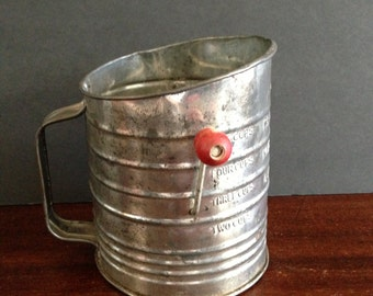 OLD FLOUR SIFTER With Red Handle