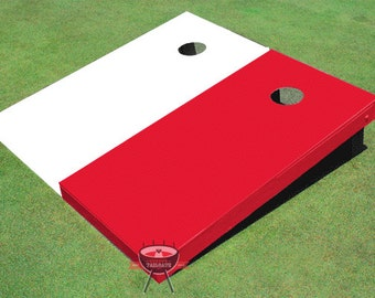 Painted Corn Hole White and Red Solid Cornhole boards