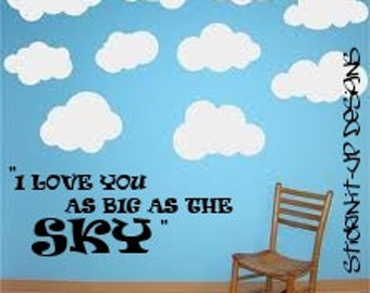 I love you as big as the sky wall decal