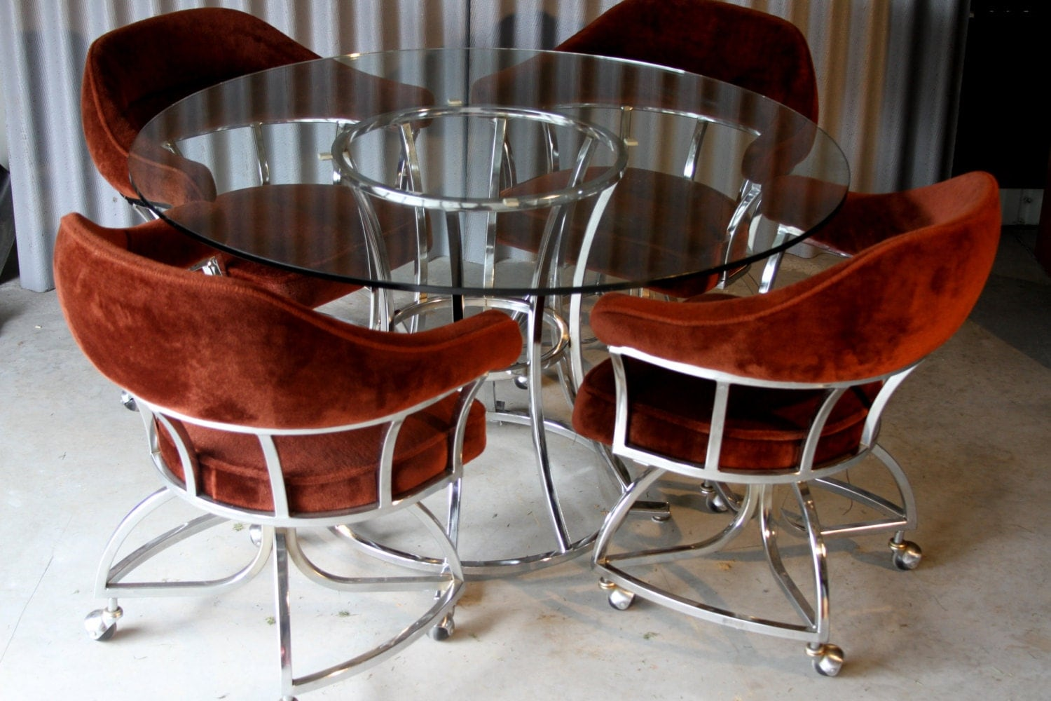 retro chic chrome and glass dining set by hermanssteelgarage