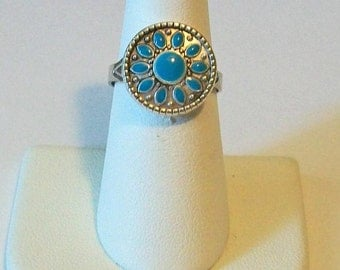 Small Silver and Turquoise Southwestern Style Fashion Ring Adjustable Band