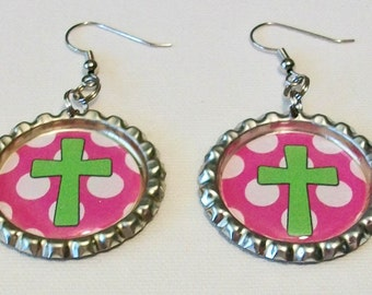 SALE Pretty Pink and White Polka Dot Lime Green Cross Metal Flattened Bottlecap Dangle Earrings