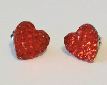 SALE Pretty Small Ruby Red Heart Shaped Textured Rhinestone Pierced Stud Earrings