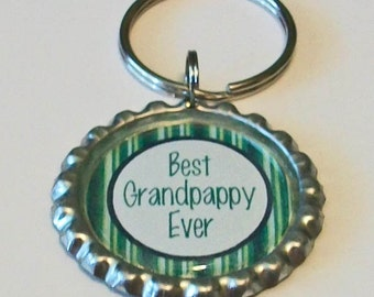 Blue and Green Stripe Best Grandpappy Ever Grandfather Metal Flattened Bottlecap Keychain Great Gift