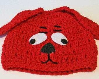 So Cute Red Puppy Dog Hand Crocheted Baby and Childrens Hat Great Photo Prop 5 Sizes Available