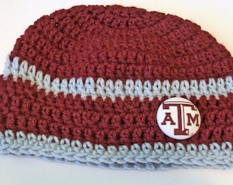 Texas A & M Inspired Gray and Maroon Hand Crocheted Baby and Childrens Beanie Hat Great Photo Prop 5 Sizes Available