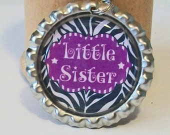 Fun Little Sister Zebra Print and Purple Flattened Bottlecap Pendant Necklace