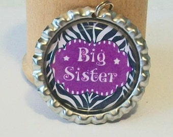 Fun Big Sister Zebra Print and Purple Flattened Bottlecap Pendant Necklace