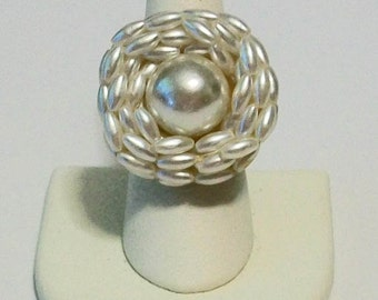One of a Kind Vintage White Pearl Cluster Repurposed Jewelry Fashion Ring Adjustable Band