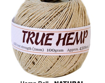 Natural Color Hemp Cord 20lb 1mm 430feet/130m or 10lb 0.5mm 630feet - 100gram