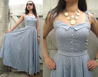 Vintage 70's BLUE MINI BUTTONS Shoulder Ties Cotton Floral Maxi Dress S