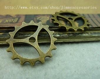 10pcs 23mm Antique Bronze Gear Watch movement Pendant