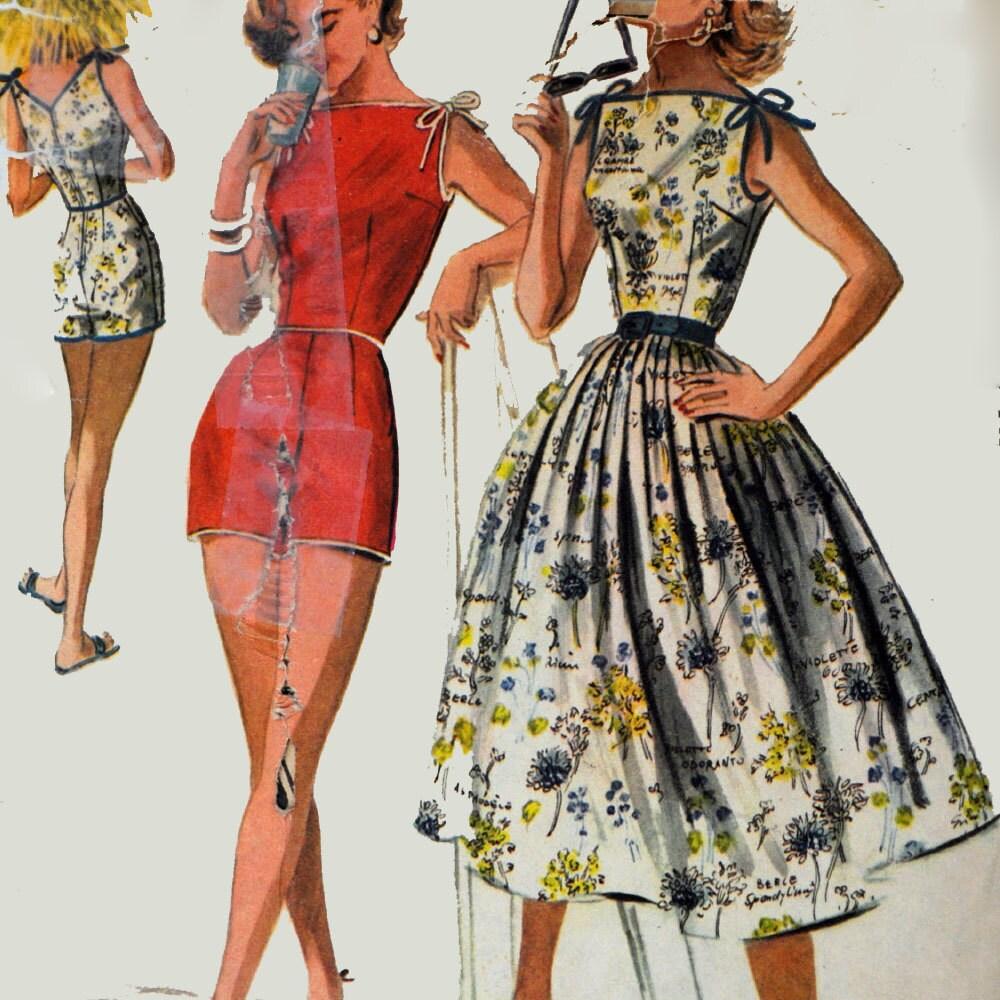 1950s Vintage Sun Dress Pattern Amp Womens Playsuit Romper