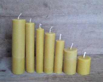 SET of 7 Beeswax Candles, Handmade.
