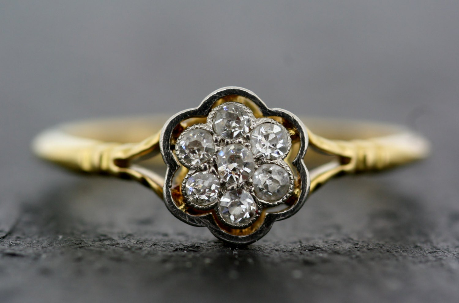 Antique Diamond Ring Vintage 18ct Gold Diamond 1930s Cluster