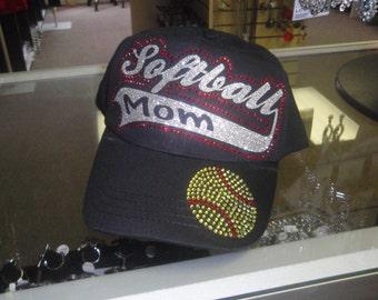 Softball Mom Cap, Softball Mom rhinestone Hat, Softball Hat