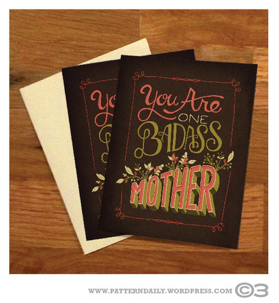 Hand Lettered Mother's Day Card - Brown