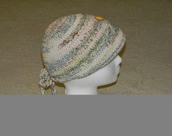 Crochet Girl Cap Beige/ Mint