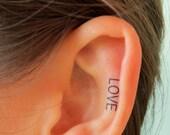 LOVE Ear Tattoo