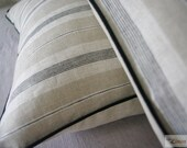 CLEARANCE / 2 x Natural Linen Pillowcases Randomness Striped