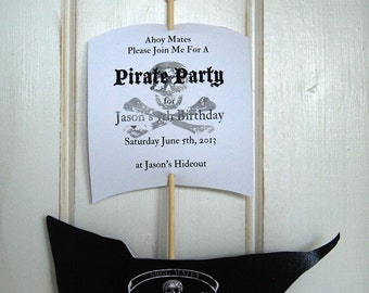 CUSTOM Printable Party Invitation or Favor - 3D Pirate Ship