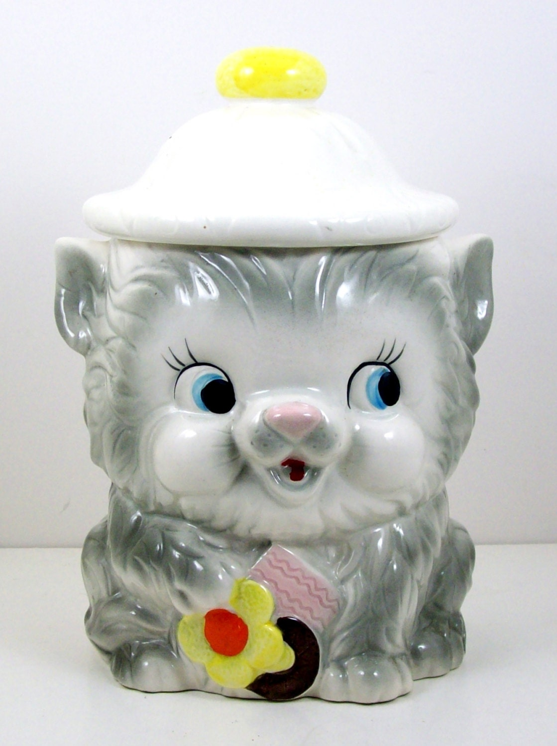 Vintage Gray White Cat Kitten Cookie Jar With Hat Lid Marked