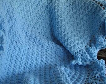 B-009 Blue Crochet Baby Blanket