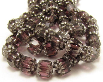 Amethyst with Silver 6mm Facet Barrel Cathedral Czech Glass Fire Polished Beads 25pc #749