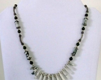 Handmade Moss Agate Green Jade Silver Necklace One of a Kind