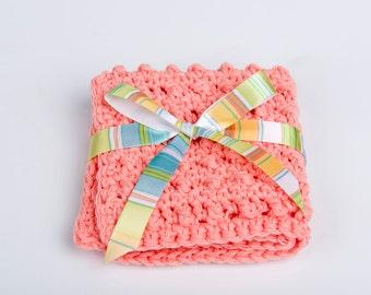 Washcloth- Crochet Washcloth- Cotton Washcloth- Exfoliating Washcloth- Scrubbie Spa Accessory- peach